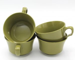 Vintage Allied Chemical Olive Green Melamine Cups Set | Whispering City RVA