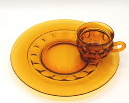 Vintage Colony King's Crown Amber Thumb Print Snack Plate & Cup Set | Whispering City RVA