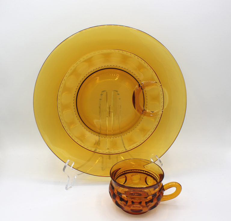 Vintage Colony King's Crown Amber Thumb Print Snack Plate & Cup Set   Whispering City RVA