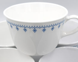 Vintage Corning Correlle Livingware Snowflake Blue handled coffee cups at Whispering City RVA