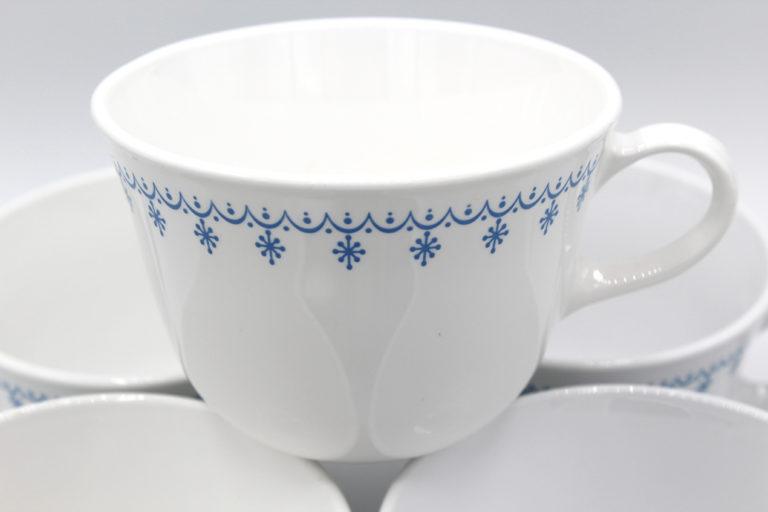 Vintage Corning Correlle Living Snowflake Blue Coffee Cups Set   Whispering City RVA
