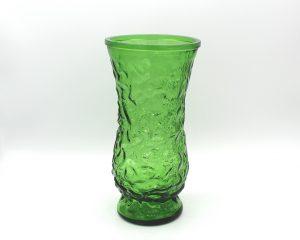 Vintage Green Crinkle Glass Hoosier Vase 8.5″ | Whispering City RVA