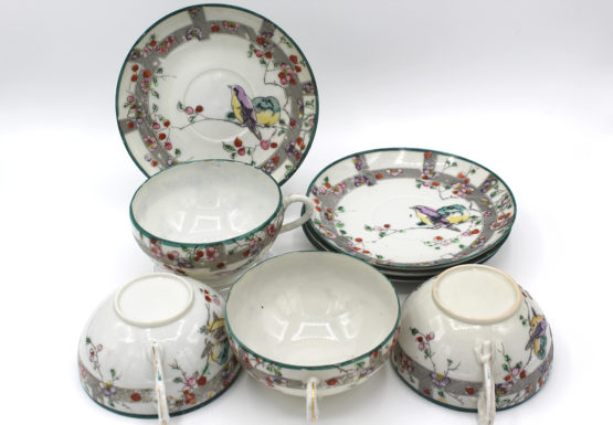 Vintage Eggshell China Bird & Cherry Blossoms Teacups & Saucers Set | Whispering City RVA