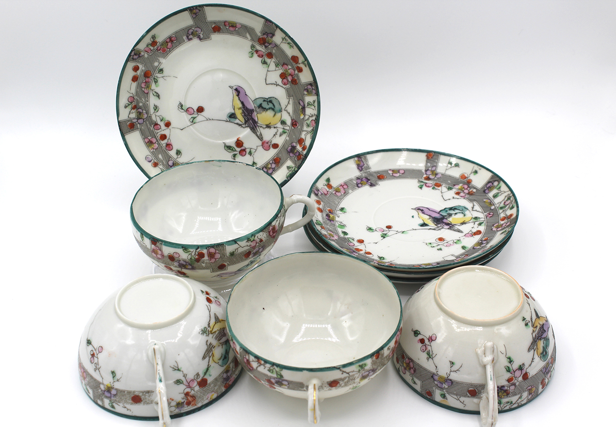 Vintage eggshell china Japanese teacups & saucers with birds, stripes and cherry blossoms at Whispering City RVA