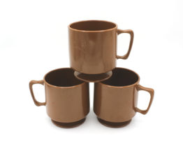 Vintage Brown Melamine Pedestal Cups Set | Whispering City RVA