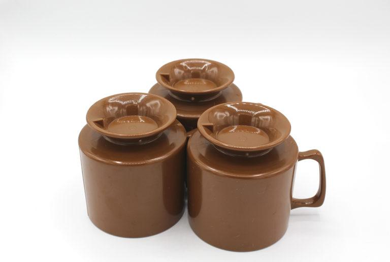 Vintage Brown Melamine Pedestal Cups Set | Whispering City RVA