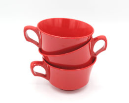 Vintage Cherry Red Melamine Cups Set | Whispering City RVA