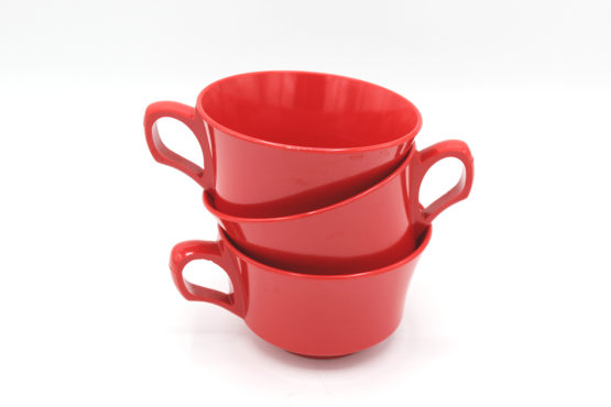Vintage Cherry Red Melamine Cups Set | Whispering City RVA