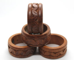 Vintage Miller & Rhoads Hand Carved Wooden Napkin Rings | Whispering City RVA
