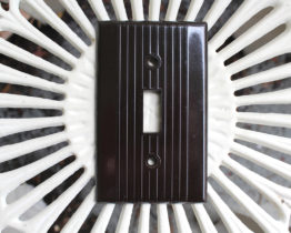 Vintage Bakelite Brown Ribbed Switch Plate Covers | Whispering City RVA