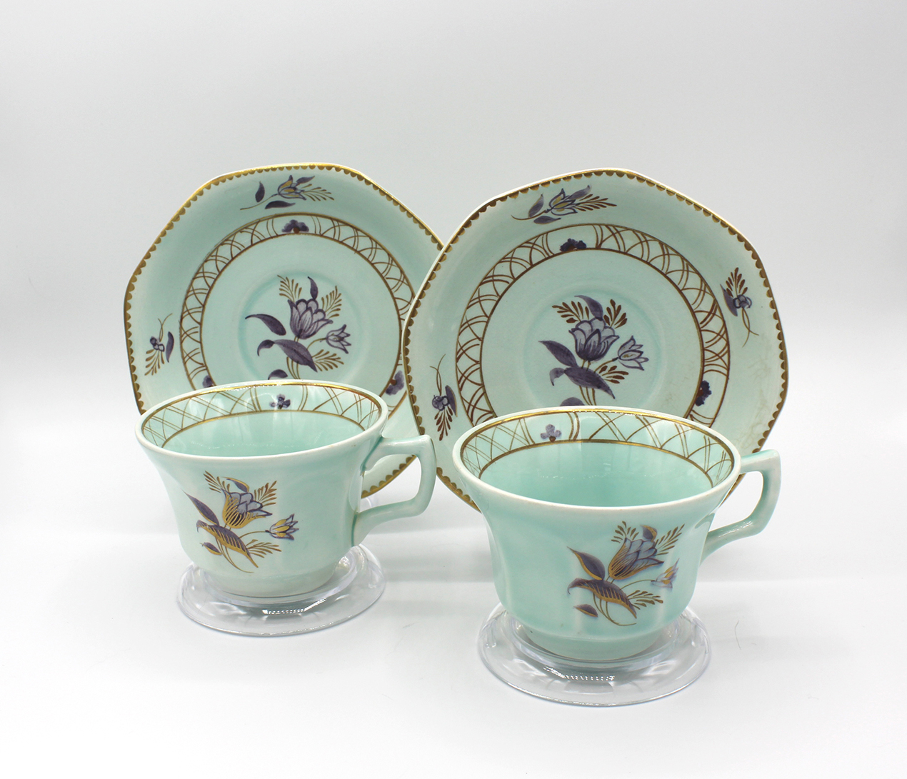 Vintage 1950s Adams Calyx Ware Regent Pattern Flat Cups & Saucers Set | Whispering City RVA