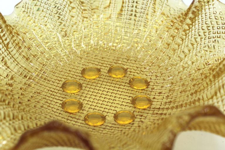 Vintage MCM Metallic Yellow Bent Glass Bowl | Whispering City RVA