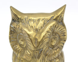 Vintage brass owl figurine statuette or paperweight at Whispering City RVA