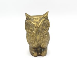 Vintage 4 1/2″ Brass Owl Statuette Paperweight | Whispering City RVA