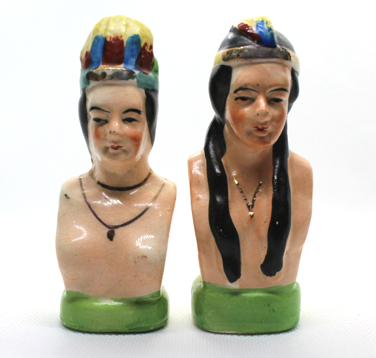 Vintage Native American Chief & Squaw Salt & Pepper Shaker Set | Whispering City RVA