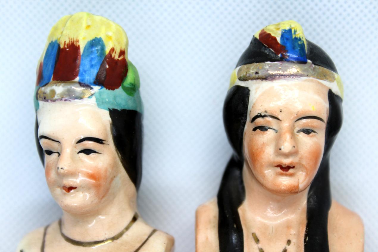 Vintage Native American Chief & Squaw Salt & Pepper Shaker Set   Whispering City RVA
