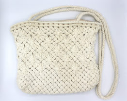 Vintage crochet knit purse with extra long handles at Whispering City RVA