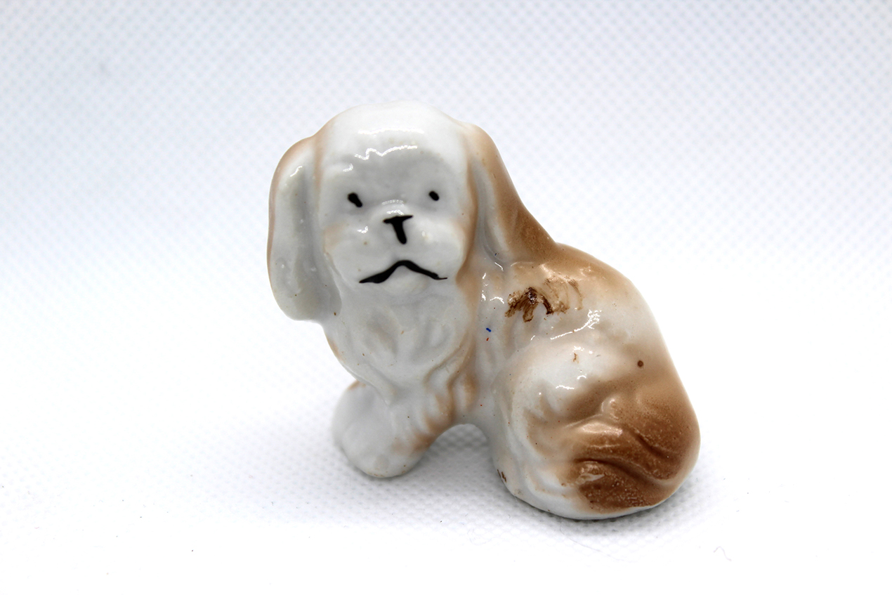 Vintage porcelain dog miniature from Japan at Whispering City RVA