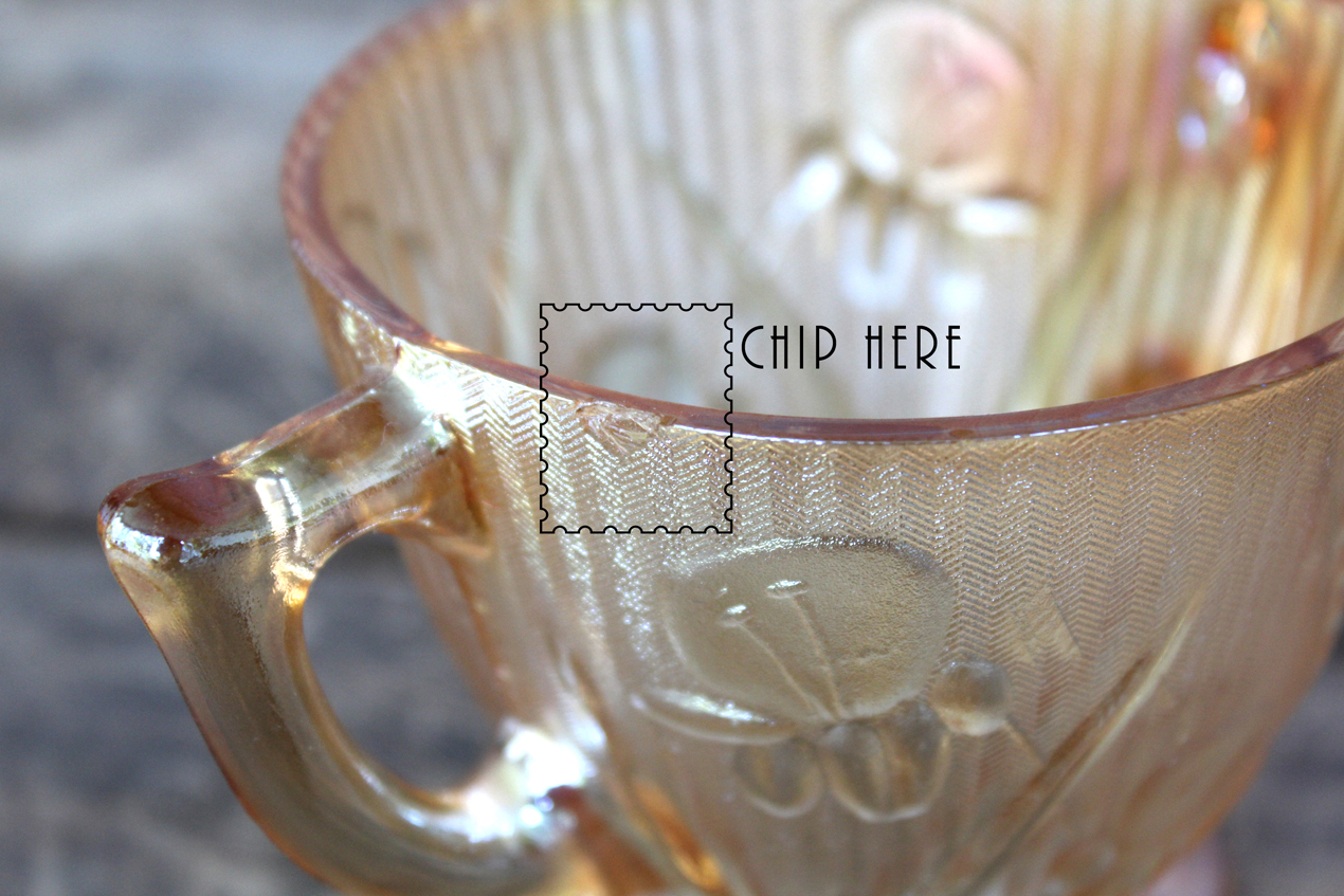 Vintage Jeannette Iris & Herringbone Iridescent Marigold Creamer & Sugar Bowl Set | Whispering City RVA