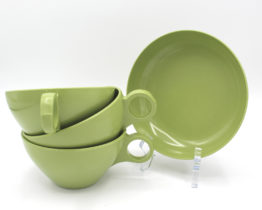 Vintage Avocado Green Melamine Cups & Bowl Set | Whispering City RVA