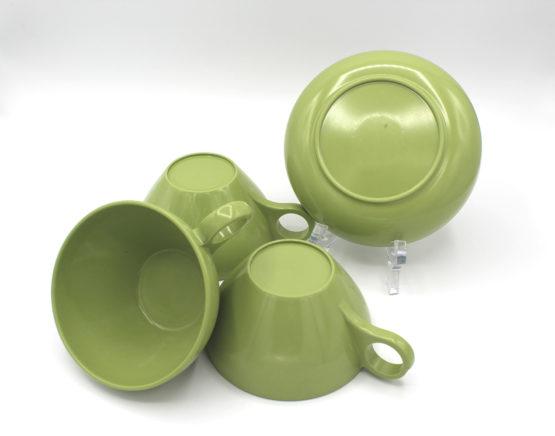 Vintage Avocado Green Melamine Cups & Bowl Set | Whispering City RVA