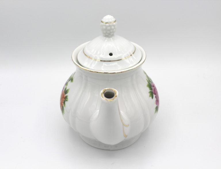 Vintage Porcelain Peony Flower Teapot w/ Lid | Whispering City RVA