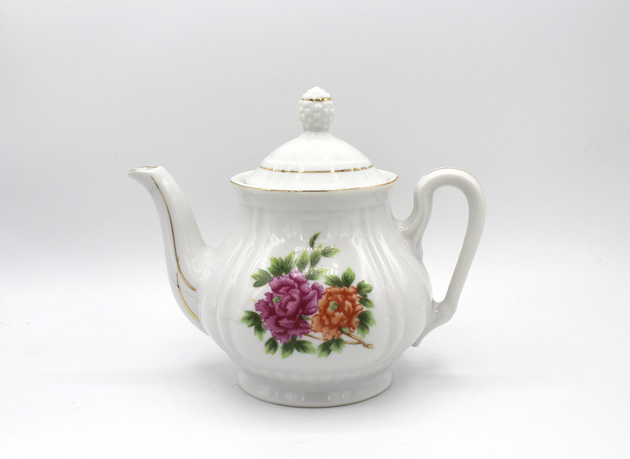 Vintage Porcelain Peony Flower Teapot w/ Lid | Whispering City RVA