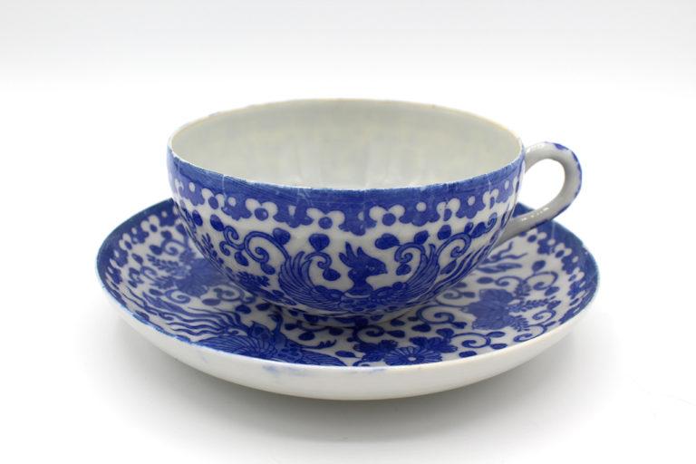 Vintage Rare Phoenix Ware Teacups & Saucers Set Border B | Whispering City RVA