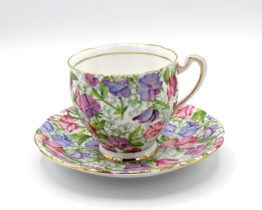 Vintage 1960s Royal Standard Sweet Pea Floral Chintz Teacup & Saucer Set | Whispering City RVA