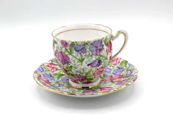 Vintage 1960s Royal Standard Sweet Pea Floral Chintz Teacup & Saucer Set | Whispering City RVA