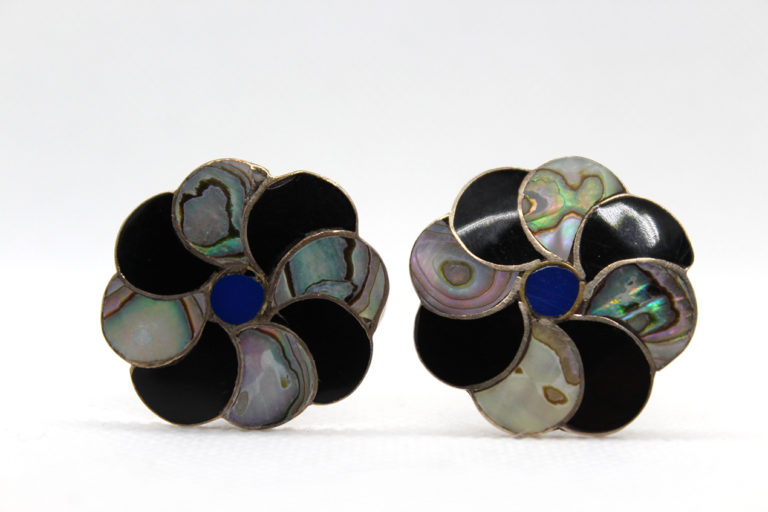Vintage Taxco 925 Sterling Silver, Jet & Abalone Earrings | Whispering City RVA