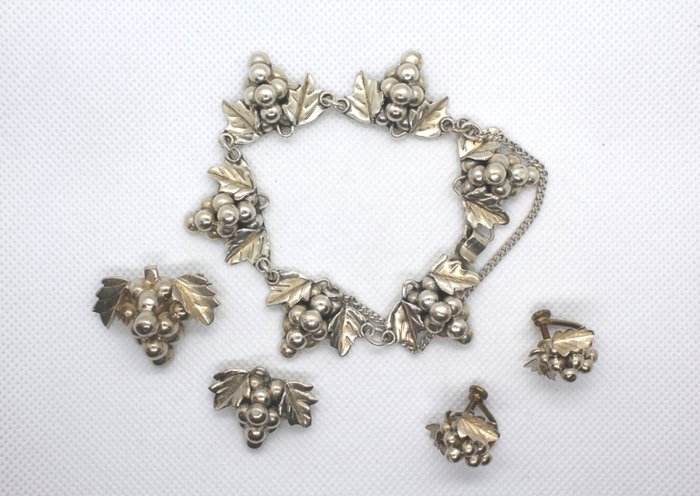 Vintage Taxco 925 Sterling Silver Grape 5 Piece Jewelry Set | Whispering City RVA