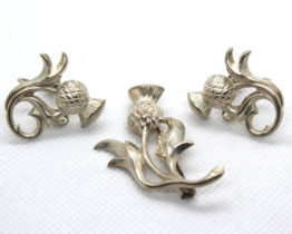 Vintage Sterling Silver Thistle Flower Earrings & Brooch Set | Whispering City RVA