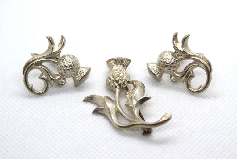 Vintage Sterling Silver Thistle Flower Earrings & Brooch Set | Whispering City RVA