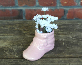 Vintage Pink Baby Shoe Planter at Whispering City RVA