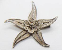 Vintage Bezalel Filigree Sterling Silver Starfish Brooch | Whispering City RVA