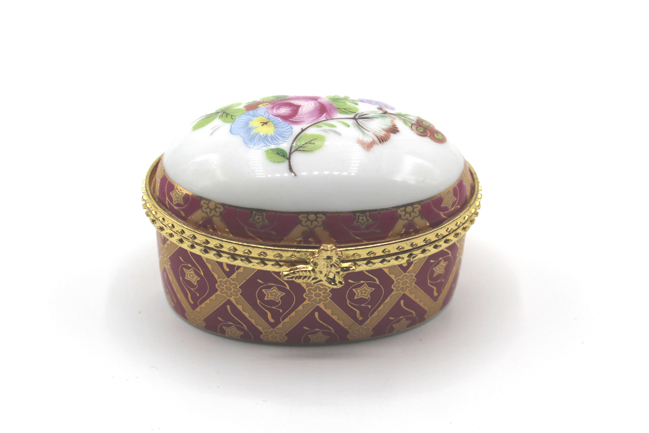 Vintage oval porcelain trinket box at Whispering City RVA