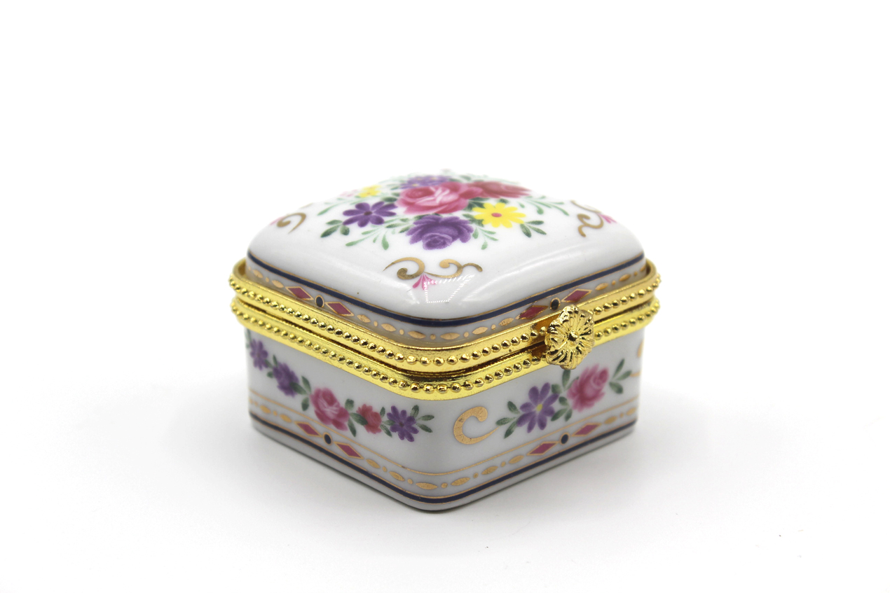 Vintage square porcelain trinket box at Whispering City RVA