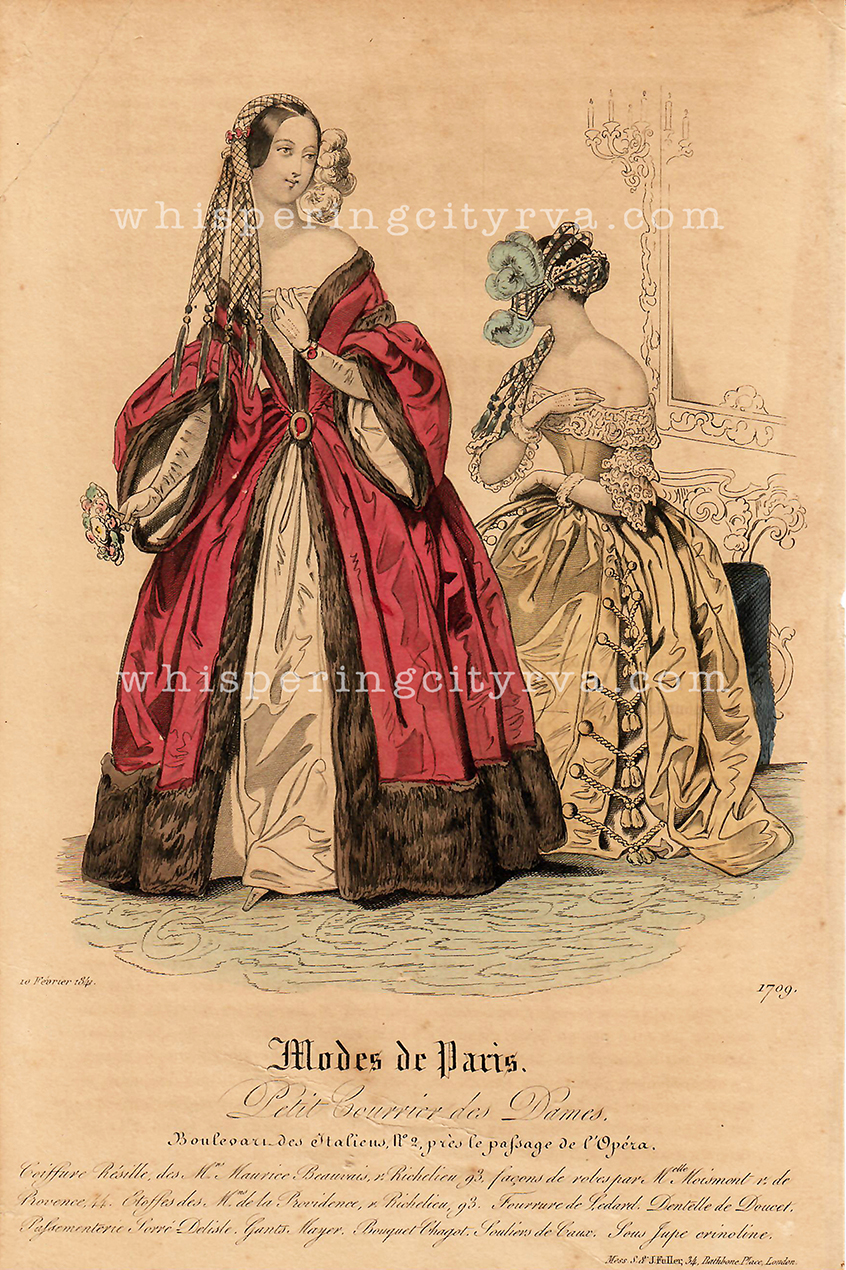 Antique French fashion magazine hand colored engraving and stippled etching from Mode de Paris at Whispering City RVA