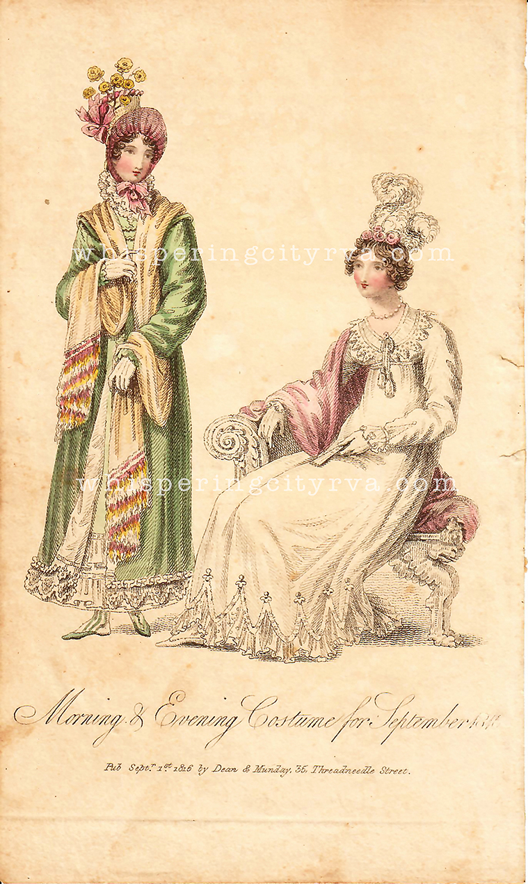 Antique fashion colored engraving book plates at Whispering City RVA