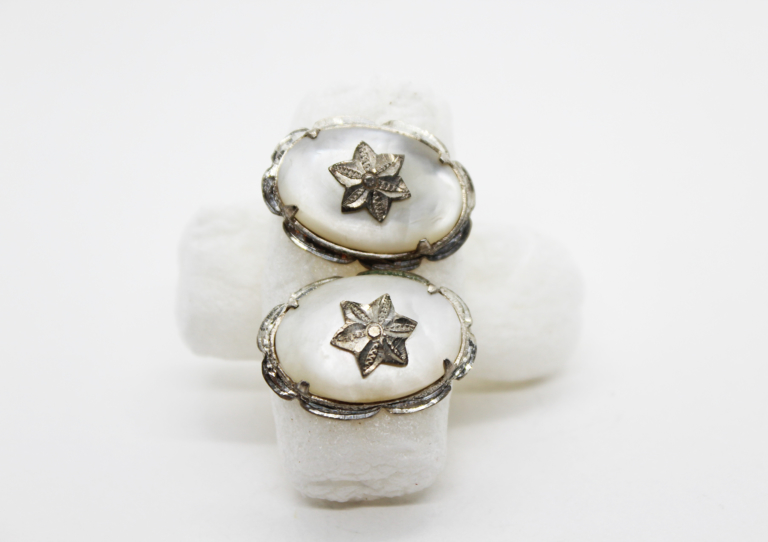 Vintage Mother of Pearl & Sterling Silver Oval Star Earrings   Whispering City RVA