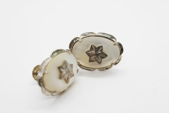 Vintage Mother of Pearl & Sterling Silver Oval Star Earrings | Whispering City RVA