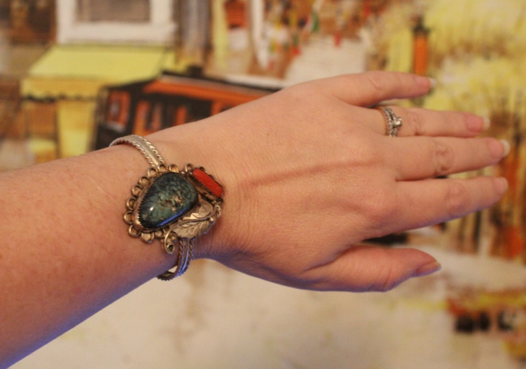 Vintage Turquoise & Coral Sterling Silver Navajo Cuff Bracelet | Whispering City RVA