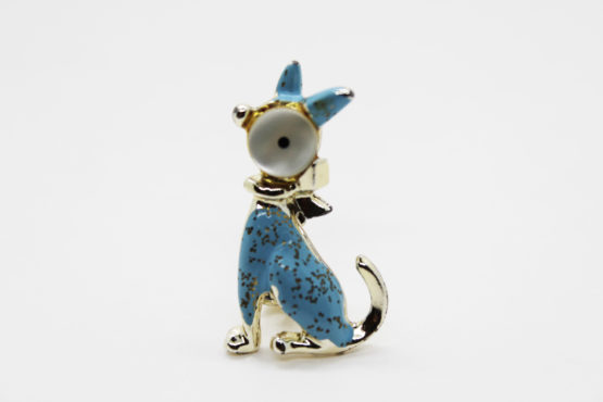 Vintage Mother of Pearl & Blue Enamel Cat Brooch | Whispering City RVA