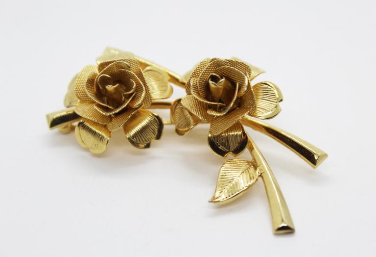 Vintage Gold Tone Rose Spray Brooch | Whispering City RVA