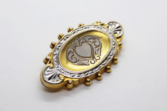 Vintage Haywood 1930s Victorian Revival etched heart brooch at Whispering City RVA