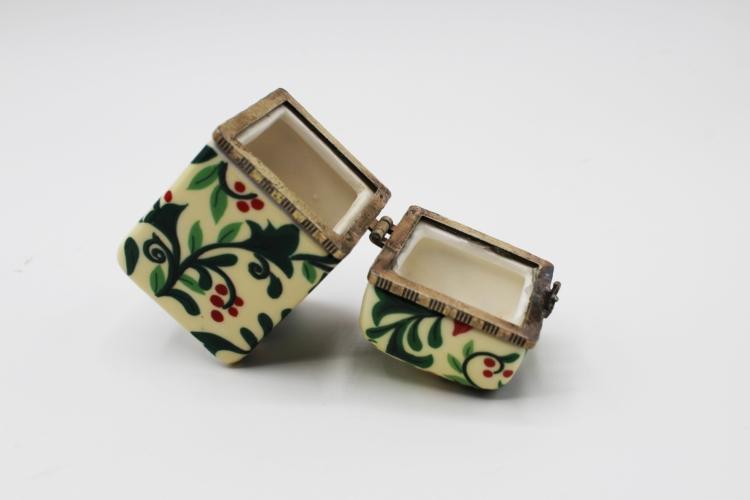 Vintage Small Poinsettia Flower Porcelain & Brass Trinket Box | Whispering City RVA