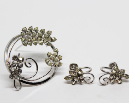 Vintage D'or Sterling Silver Rhinestone Earring & Brooch Set | Whispering City RVA