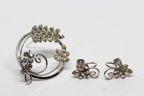 Vintage D'or Sterling Silver Rhinestone Earring & Brooch Set | Whispering City RVA