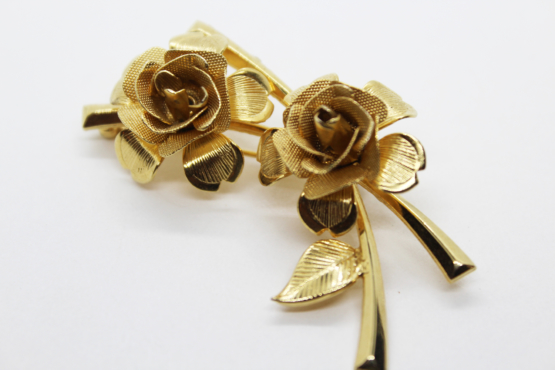 Vintage Gold Tone Rose Spray Brooch | Whispering City RVA
